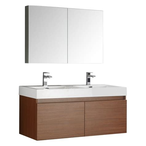 Wall Hung Bathroom Vanities Cabinets Fresca Mezzo 48 Quot Teak Wall Hung Sink Modern Bathroom Vanity W Medicine Cabinet