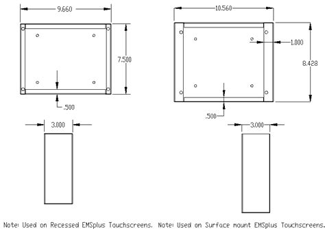 Kitchen Island Ventilation box dimensions for touch screen recessed in wall or