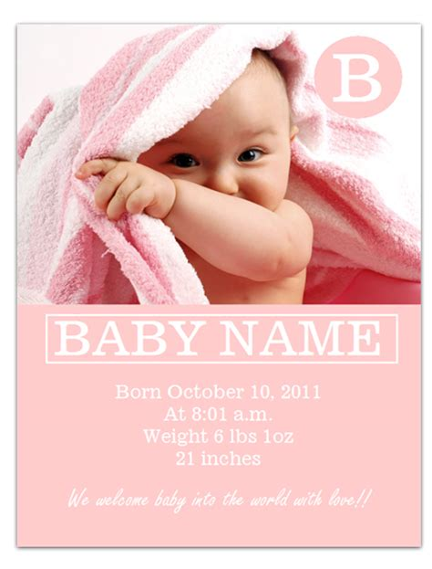 worddraw free baby announcement template for