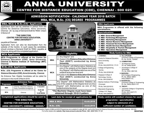 Mba Entrance Dates 2018 19 by Cde Distance Admissions 2018 Opened Now At