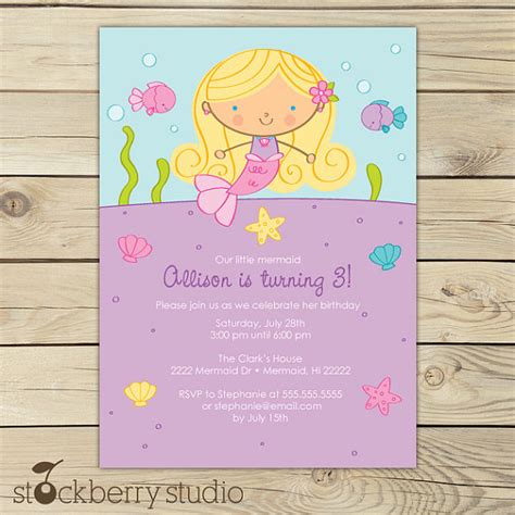 printable birthday invitations etsy blonde mermaid birthday party printable by stockberrystudio
