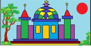 tutorial menggambar pemandangan pegunungan download video menggambar masjid