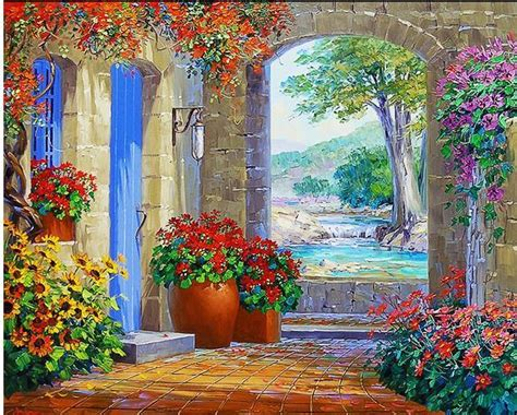 free interactive painting tv backdrop painting mediterranean garden 3d wallpapers