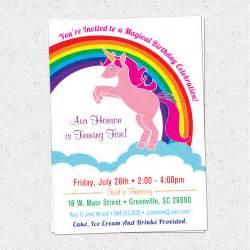 unicorn birthday party invitations rainbow pink pony