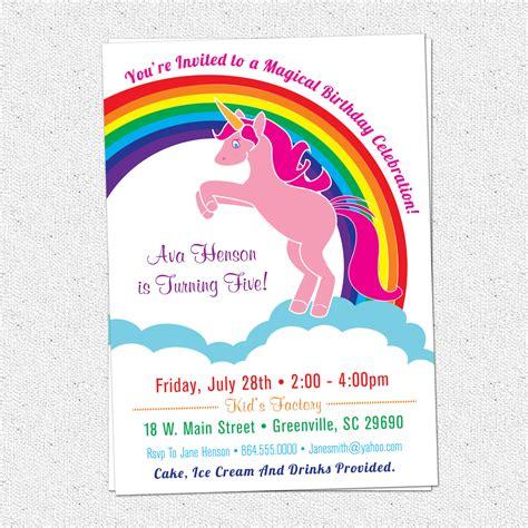 printable rainbow unicorn invitations printable unicorn birthday party invitation rainbow pink