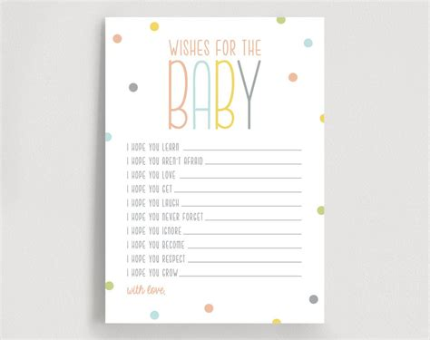 Wishes For Baby Well Wishes Printable Shower By Blisspaperboutique Baby Wish Cards Template
