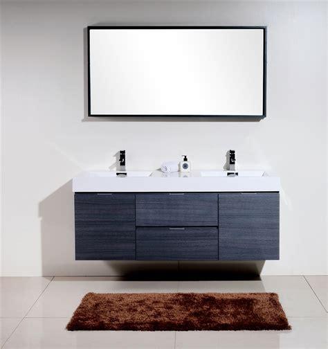 bliss  gray oak mount double sink modern bathroom vanity