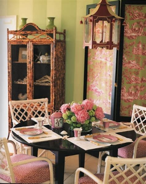 Dining Room Pink And Green Chinoiserie Chic Pagoda Chandeliers In Dining Rooms
