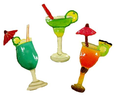 tropical margarita tiki drink glasses tree ornament set of