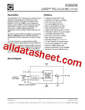 integrated circuit number lookup ics501b datasheet pdf integrated circuit systems