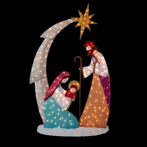 new 6 ft pre lit lighted tinsel nativity scene outdoor