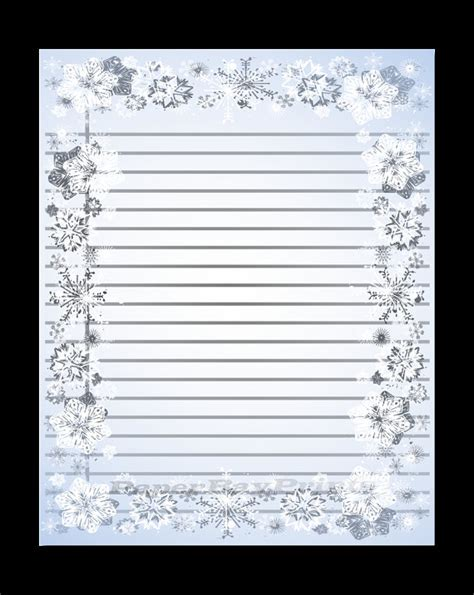 printable snowflake writing paper printable lined paper with snowflake border
