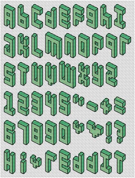 Stich Motif 3d cross stitch 3d pixel font pattern typography crosses fonts and 3d