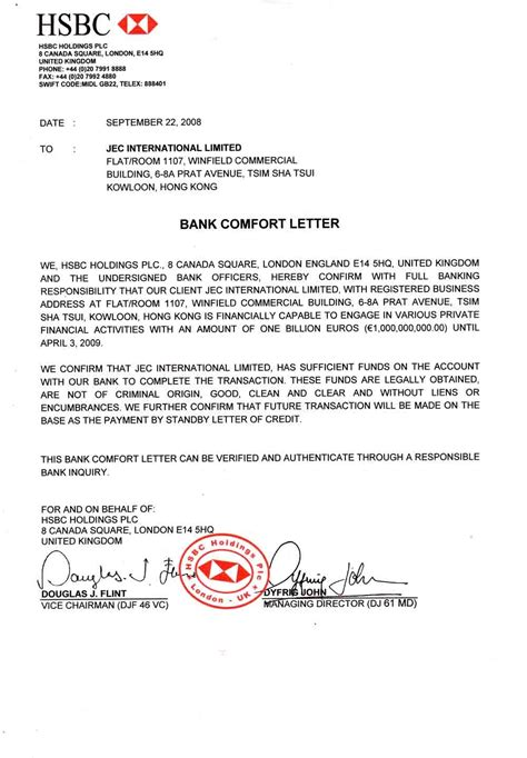 Bank Letter Of Comfort Format Bank Documents Ppp Kingdom Page 2