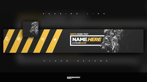 Free Gfx Free Photoshop Rev Banner Template Clean Roaring Lion Style Design Youtube Clean Banner Template