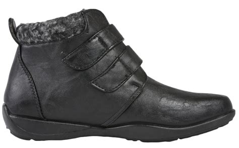 Faux Leather Shoe Boots womens fleece lined ankle boots flat faux leather comfort