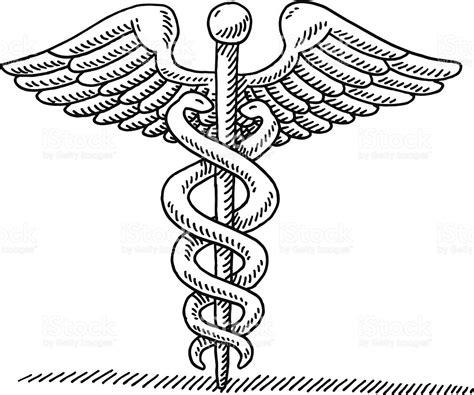 caduceus ancient symbol drawing stock vector