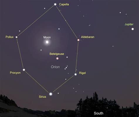 sky map tonight moon and winter hexagon bright on bright tonight astro bob