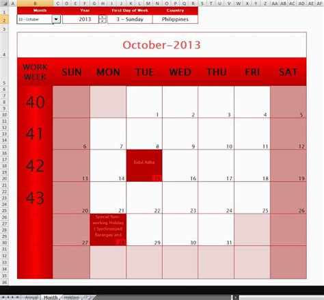 the ultimate annual monthly microsoft excel calendar
