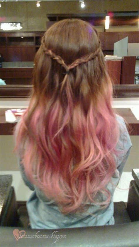 long brown hair  pink dip dye hairstyles dip dye