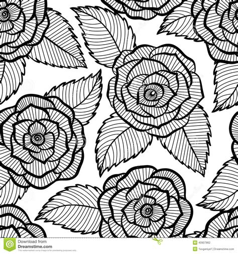 rose pattern line drawing seamless black and white pattern in roses and leaves lace