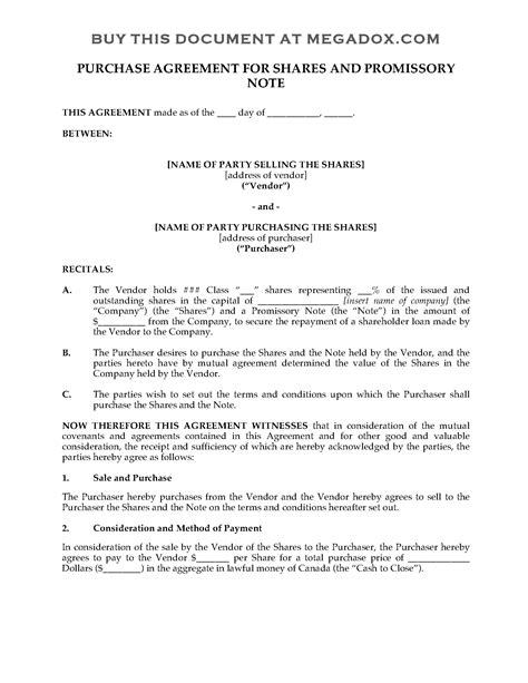promissory note template canada canada purchase agreement for shares promissory note