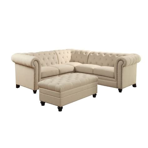 Coaster Sectionals by Coaster Roy Button Tufted Sectional In Oatmeal 500222