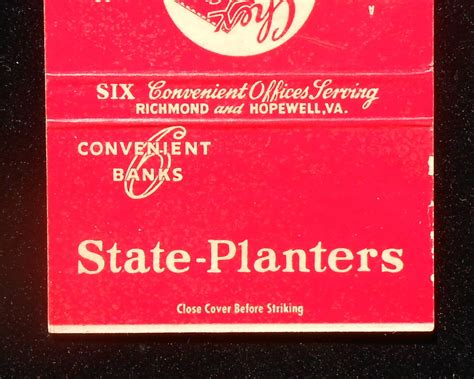 1950s billboard matchbook state planters bank and trust co