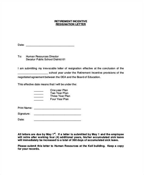 early resignation letter sle early retirement letter to employer cover letter