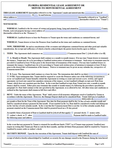 Free Florida Residential Lease Agreement Template Pdf Word Florida Month To Month Lease Agreement Template