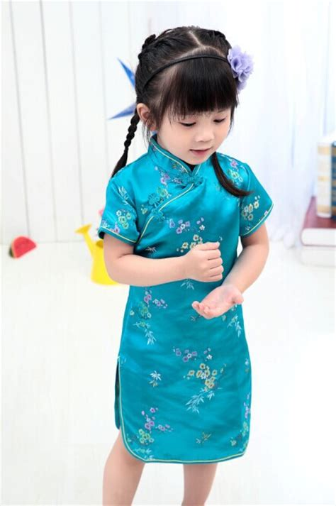 new year special clothes 2018 floral baby qipao summer dresses kid