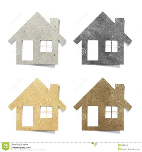 Craft Paper House - tag house recycled paper craft stock photo image of