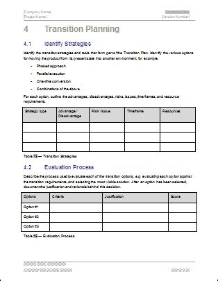 software project transition plan template transition plan ms word template instant