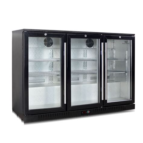 counter bar fridge 3 self closing glass door 328bp