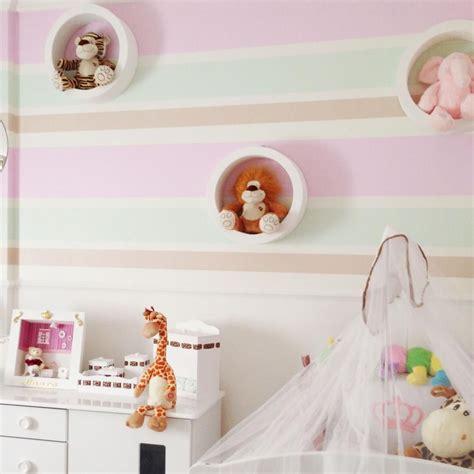 decoração quarto de bebe nichos papel de parede autocolante listrado baby coral 187 beb 234