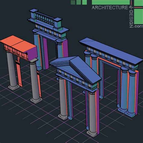 home design studio 3d objects 3d objects of classical architecture facades for autocad