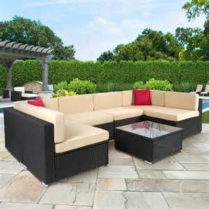 Outdoor Patio Sectional Furniture Sets 7pc Outdoor Patio Garden Wicker Furniture Rattan Sofa Set Sectional Black Walmart