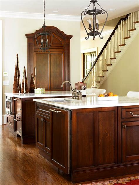 Kitchen Island With Marble Top by Elegant Kitchens With Warm Wood Cabinets Traditional Home