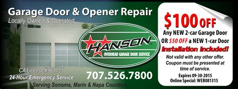hanson overhead garage door service sonoma county 2015