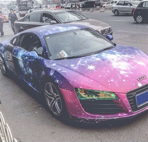 Galaxy Wrapped Audi R8 Keep Rollin Rollin Rollin