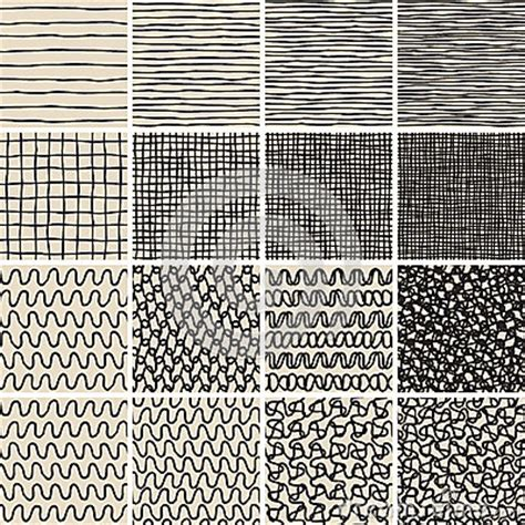 basic doodle seamless pattern set no 8 in black and white basic doodle seamless pattern set no 1 in black and white