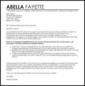 Career Consultant Cover Letter by Implementation Consultant Cover Letter Sle Livecareer