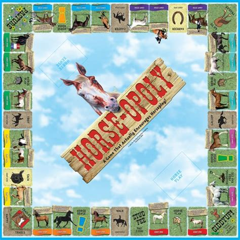 Equine Home Decor horse opoly western board game