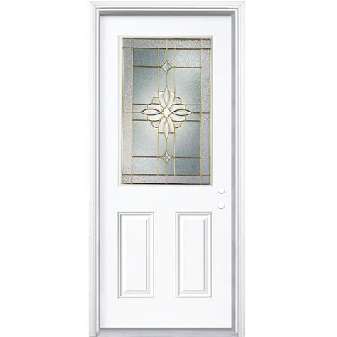 Half Lite Exterior Door Shop Reliabilt Half Lite Prehung Inswing Steel Entry Door Common 36 In X 80 In Actual 37 5