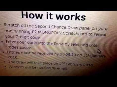 Monopoly 2nd Chance Sweepstakes - california lottery second chance entry