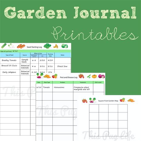 garden journal template garden journal printables updated this pug