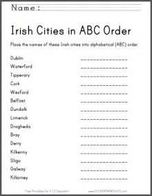 irish cities in abc order worksheet