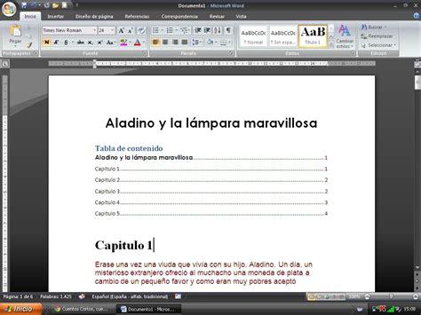 curso grado elemental logse curso gratis de word 2013 aulaclic 17 tablas de contenidos