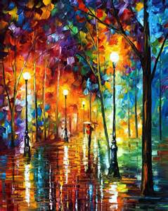 Rating late stroll 2 palette knife oil painting on canvas by