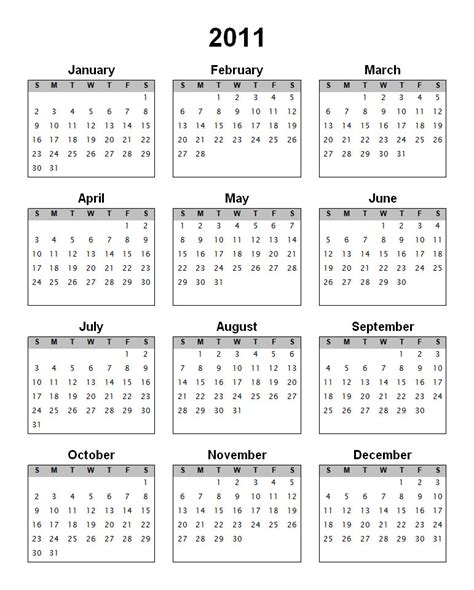 2011 calendar template blank calendars yearly calendar forms and templates